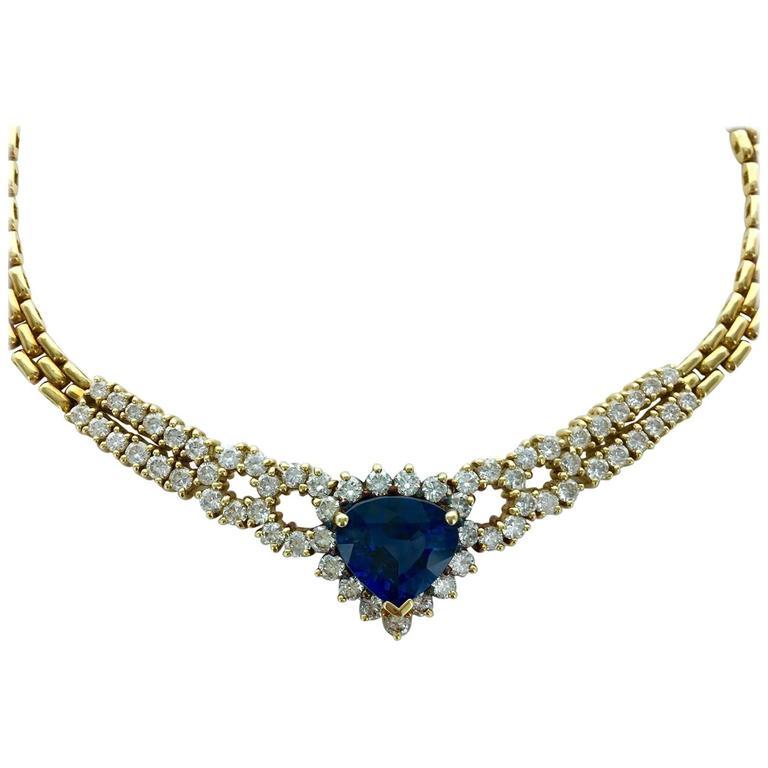 Heart Shape Sapphire Diamond Yellow Gold Necklace