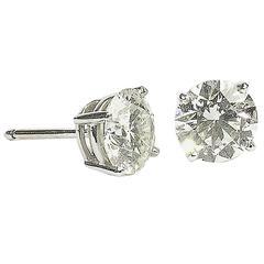 4.11 Carats Diamonds Gold Stud Earrings