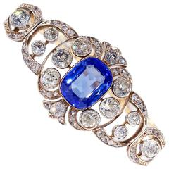 Pre-Revolutionary Russian Untreated Ceylon Sapphire and Diamond Bracelet