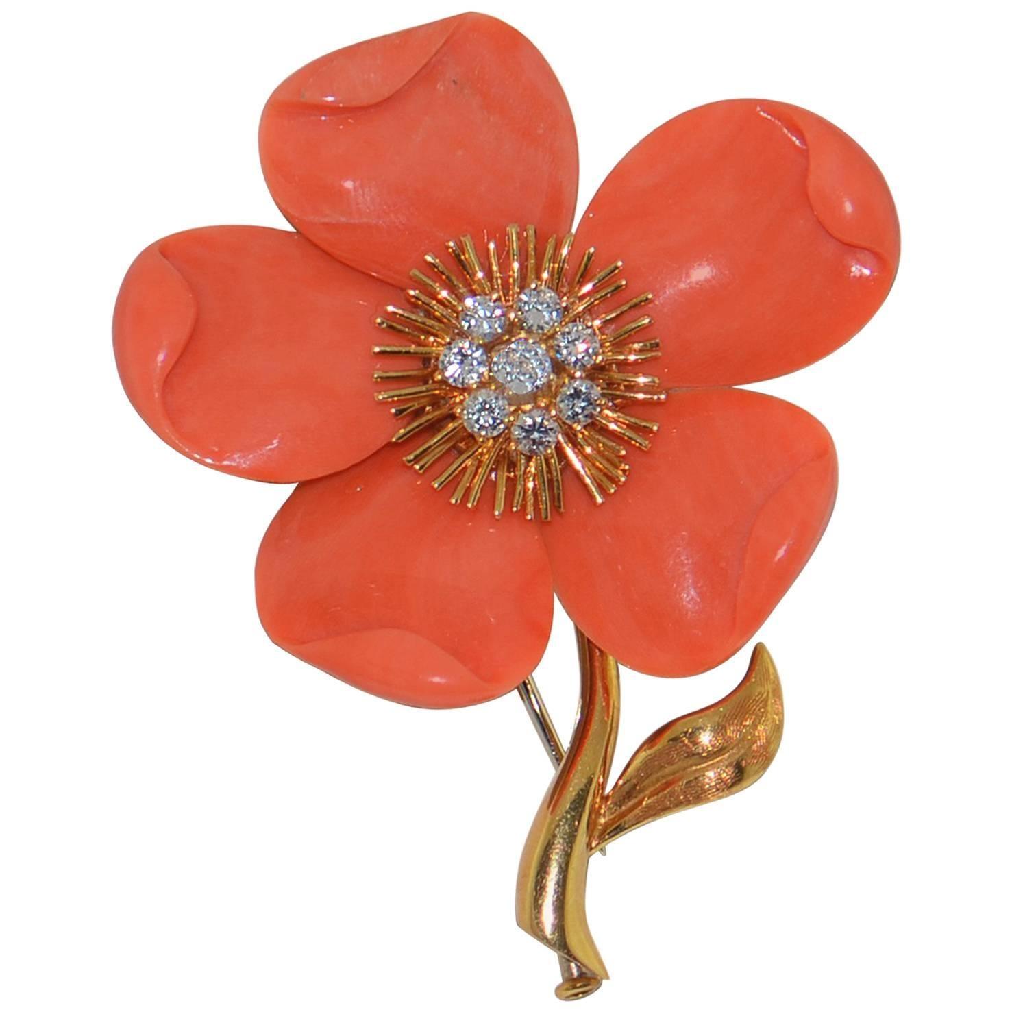 Van Cleef & Arpels Diamond Coral  Gold Brooch/Pin