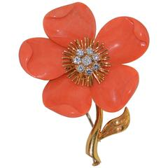 Van Cleef & Arpels Diamond Coral  Gold Brooch/Pin