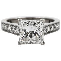 Cartier Princess Cut GIA Certified 3.01 Carat Diamond Platinum Engagement Ring