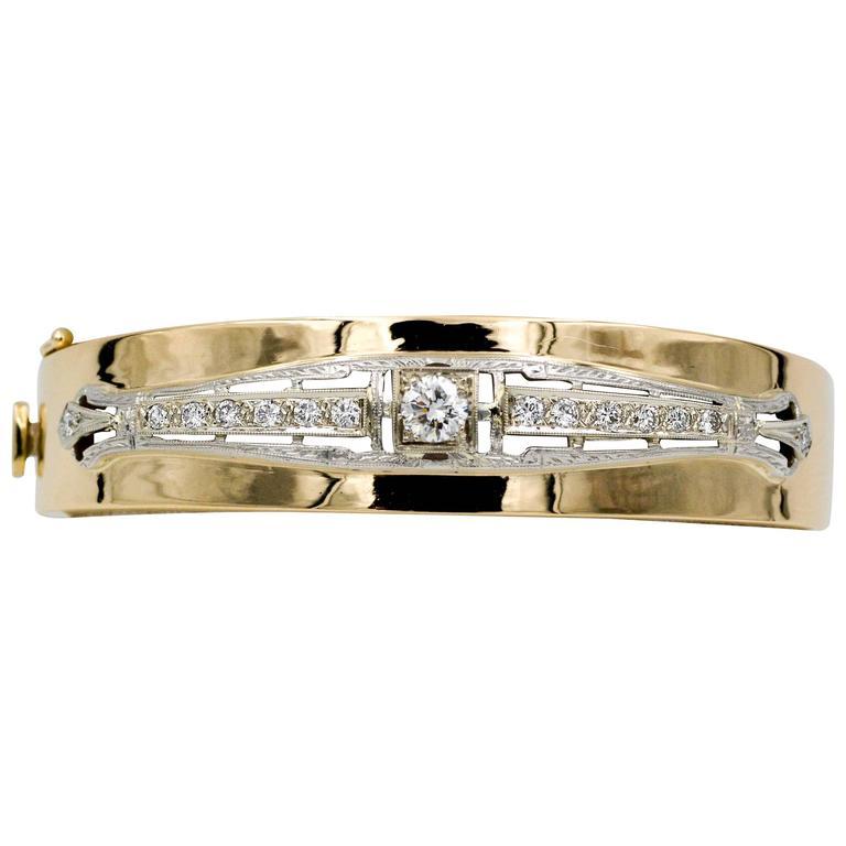 Art Deco 14 K White/Yellow Gold 1.0 Carat Diamond Bangle