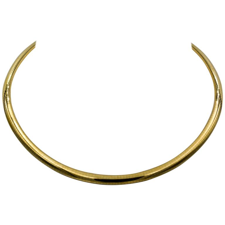 Italian Omega 14 Karat Yellow Gold Necklace
