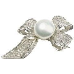 Pearl Diamond platinum Bow Brooch