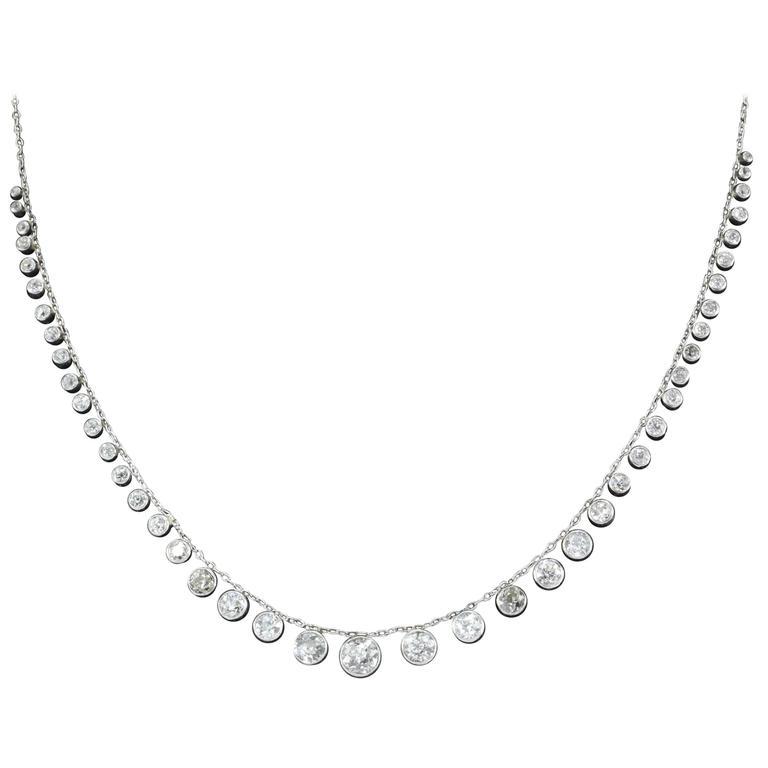 Edwardian Old European Diamond Platinum Riviere Necklace, circa 1910