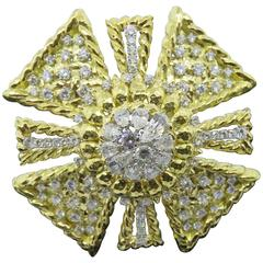 David Webb Diamond Gold Maltese Cross