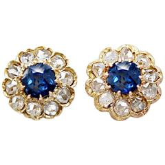 Late Victorian Sapphire Diamond Yellow Gold Earrings