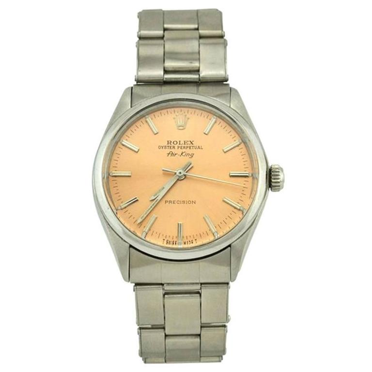 Rolex Stainless Steel Orange Dial Air-King Automatic Wristwatch Model 5500 1
