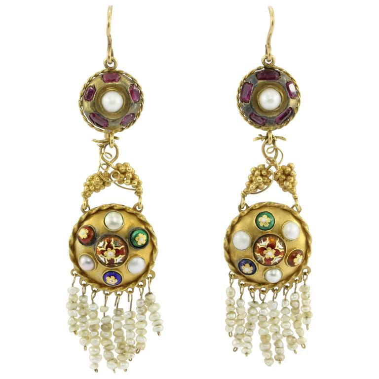 Austro-Hungarian Gold Ruby Pearl and Enamel Chandelier Earrings, circa 1890 1