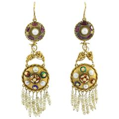Austro-Hungarian Gold Ruby Pearl and Enamel Chandelier Earrings, circa 1890