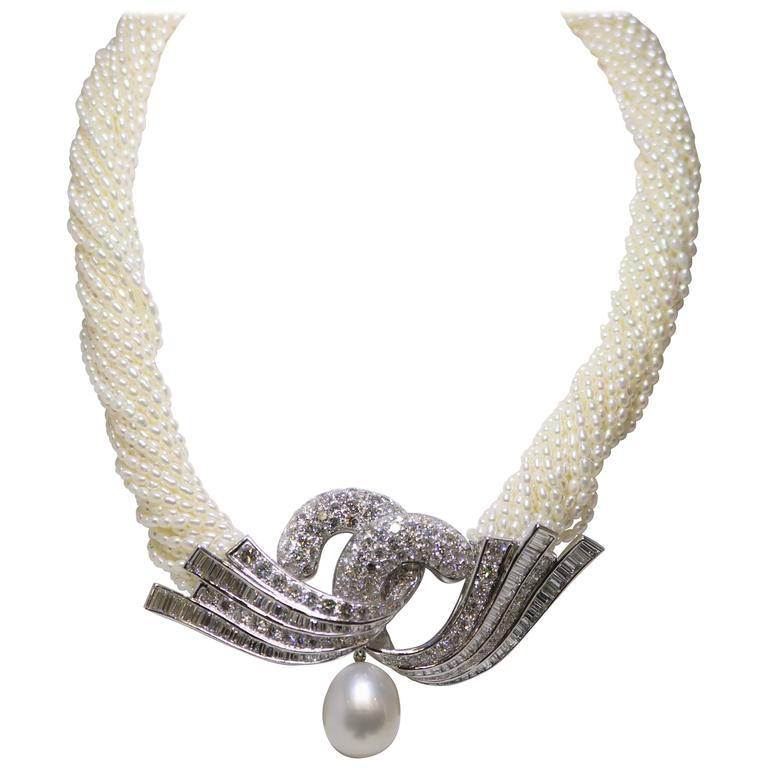 Akoya Keshi Pearl Necklace For Sale