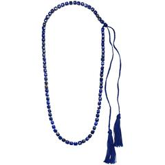 Faye Kim Lapis Lazuli Bead Necklace with Silk Ties