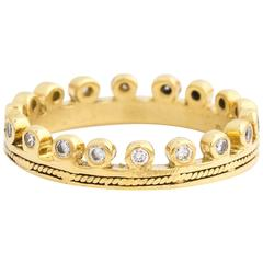 Diamond Yellow Gold Crown Eternity Band Ring