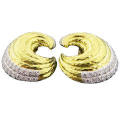 David Webb Crescent Shaped Diamond Gold Earrings