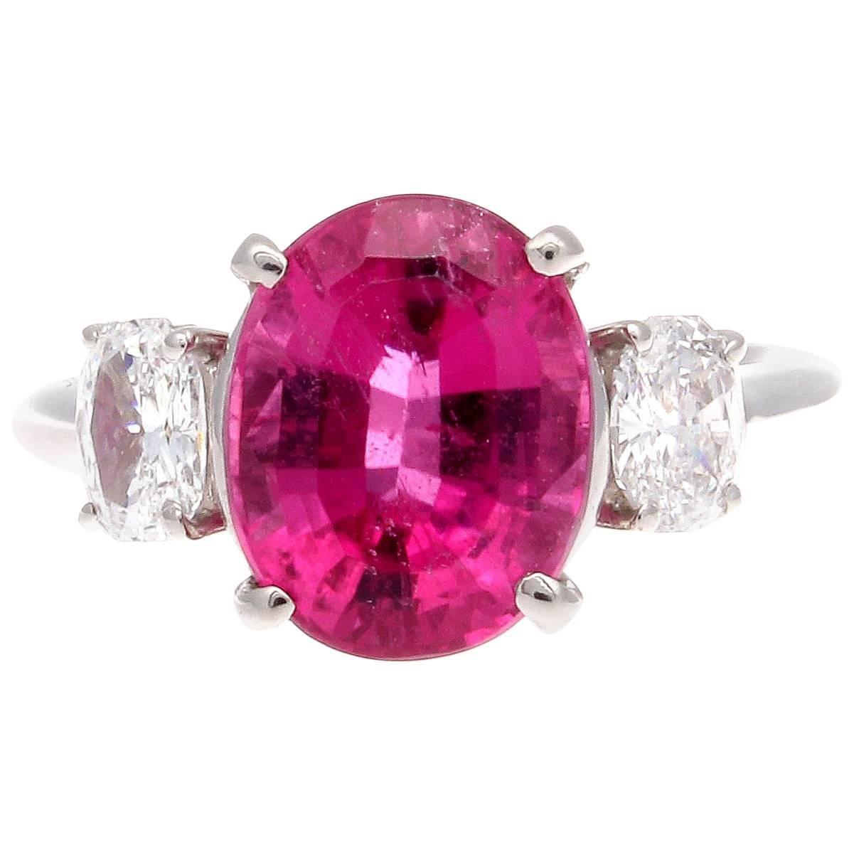 Vibrant Pink Tourmaline Diamond Platinum Ring For Sale at 1stdibs