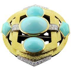 David Webb Turquoise Diamond Gold Platinum Pin
