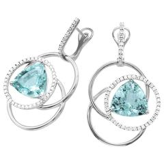 Frederic Sage 10.44 Carat Aquamarine Diamond Earrings