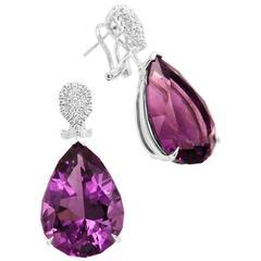 Frederic Sage 50.94 Carat Amethyst Diamond Drop Dangle Earrings