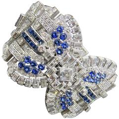 Sapphire Diamond Platinum Convertible Bracelet Choker Necklace