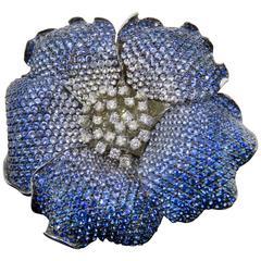 Color Graduated Sapphire Diamond Gold Flower Brooch
