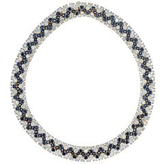 Hammerman Brothers 96.00 Carat Diamond Sapphire Gold Necklace