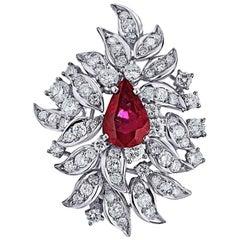13.42 Carat Clip on Handmade Ruby Diamond Platinum Earrings
