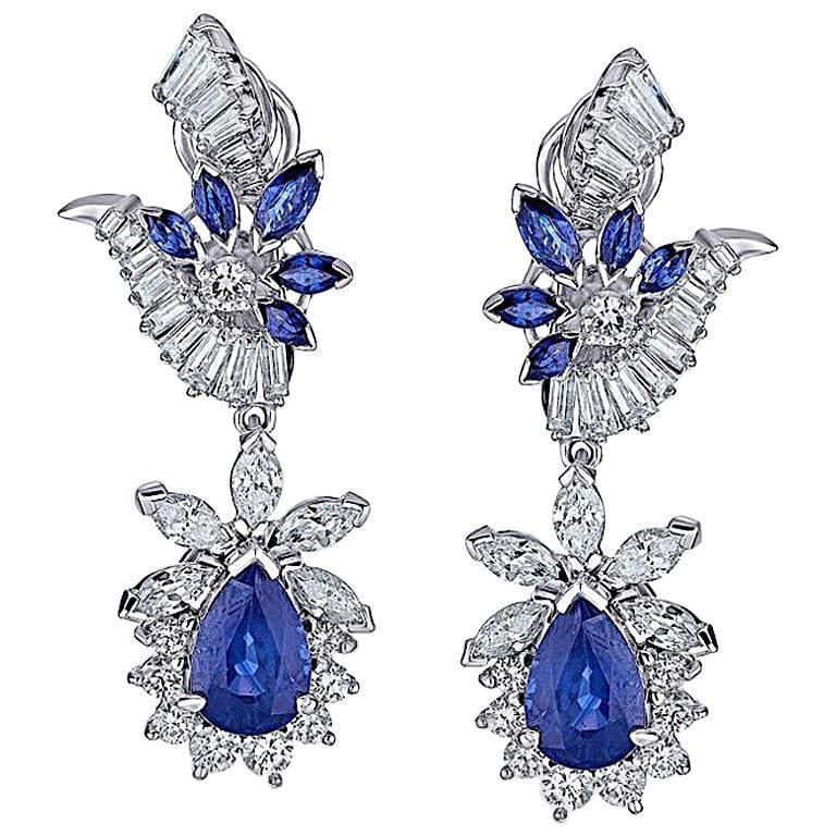 14.47 Carat Blue Sapphire White Diamond Gold Earrings