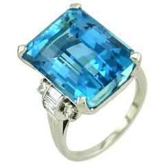 Tiffany & Co. Santa Maria Aquamarine Diamond Platinum Ring, circa 1950