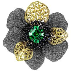 Green Crystal Black Spinel Silver Gold Platinum Brooch Pendant Necklace