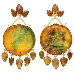 Marilyn Cooperman Carved Jade and brown Topaz Earclips