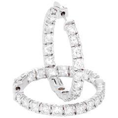 Beautiful 5.12 Carat Diamonds White Gold Inside-Out Hoop Earrings