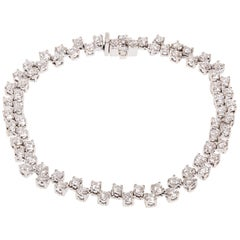 3.20 Carat Two-Row Diamond White Gold Bracelet