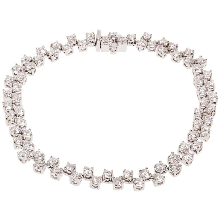 3.20 Carat Two-Row Diamond White Gold Bracelet