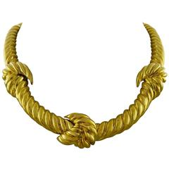 David Webb  Twisted Gold Knot Necklace