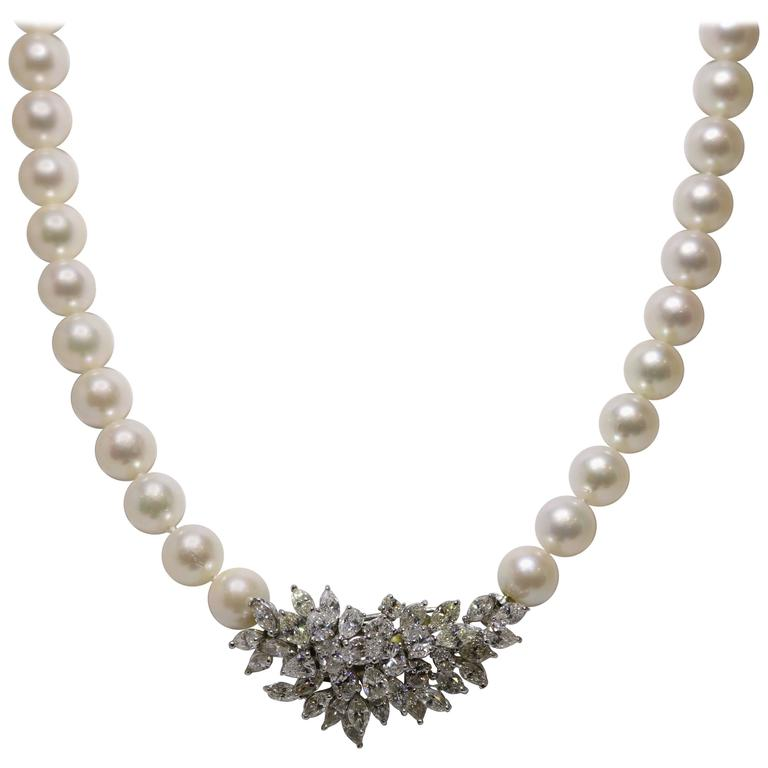 Fine Akoya Diamond Pearl Necklace