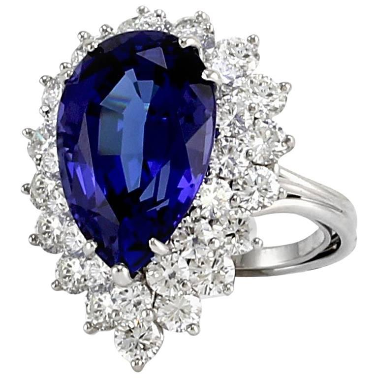 Tiffany And Co Pear Tanzanite And Diamond Halo Ring In
