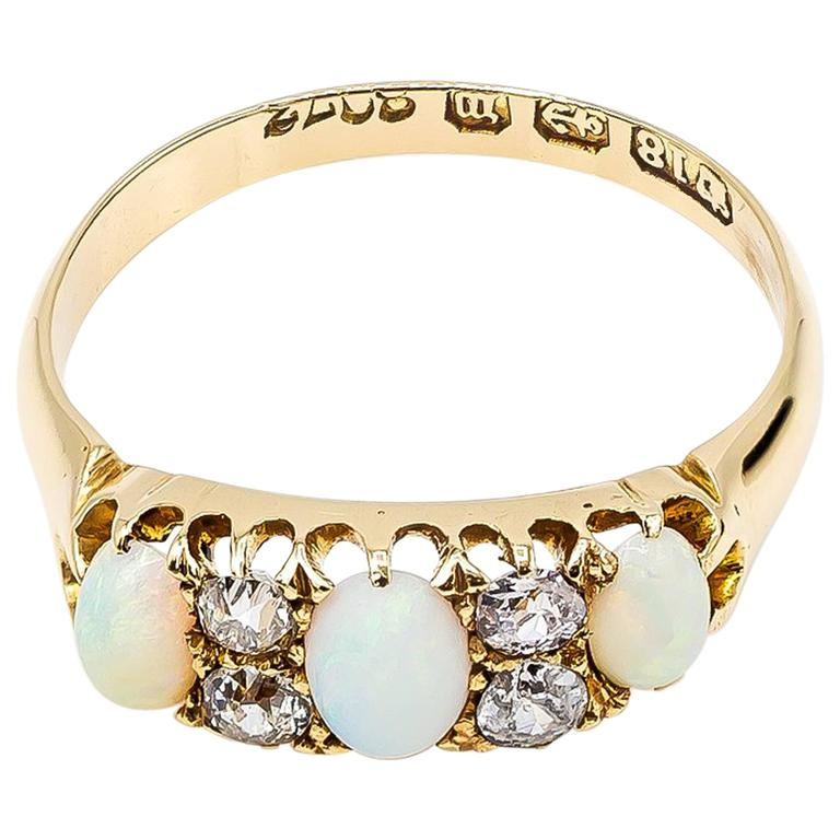 Antique Victorian Opal Diamond Yellow Gold Trilogy Ring For Sale