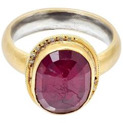 Large Faceted Oval Ruby Diamond Yellow Gold Ring