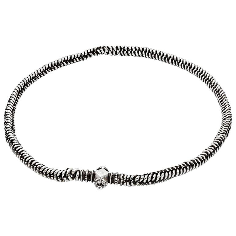 33 inch long woven rope sterling silver necklace or belt from india 33 inch long woven rope sterling silver necklace or belt from india 1900s for sale aloadofball Gallery