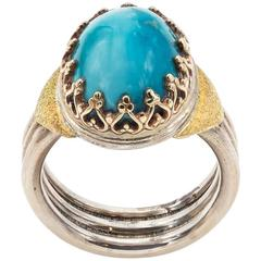 Oval Turquoise Yellow Gold Bezel Sterling Silver Band Ring