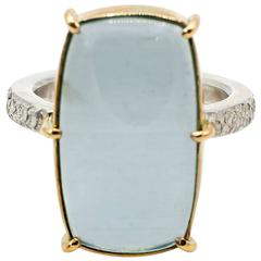 Cat's Eye Aquamarine Sterling Silver Yellow Gold Ring