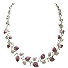 White Diamond and Pink Sapphire Floral Necklace