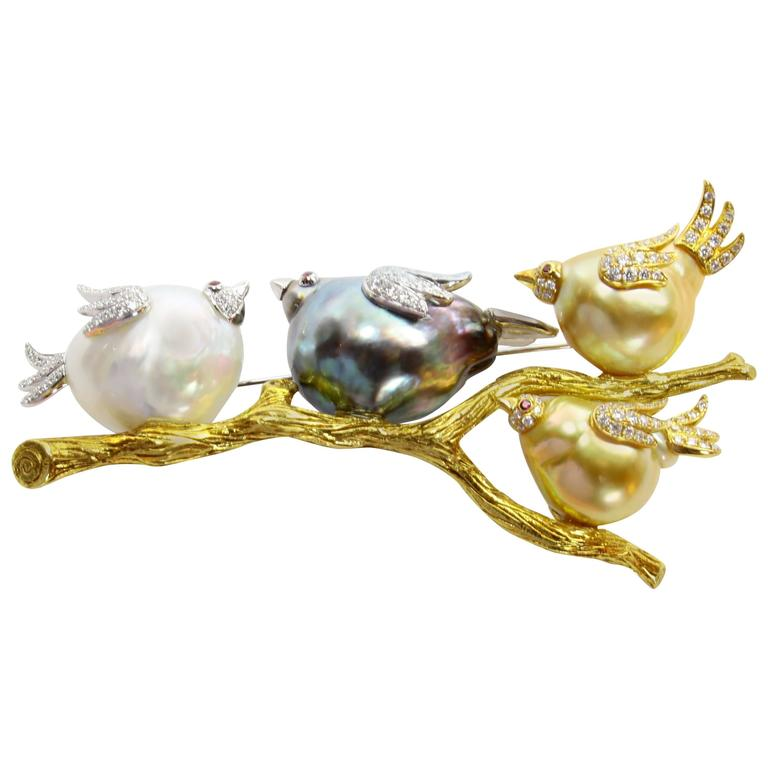 South Sea Tahitian Pearl Diamond Family of Birds on a Branch Gold Brooch Pin