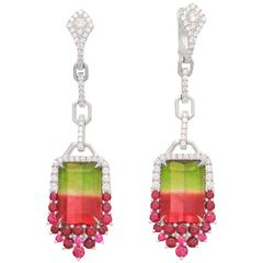 Frederic Sage 15.78 Carat Watermelon Tourmaline Diamond Ruby Earrings