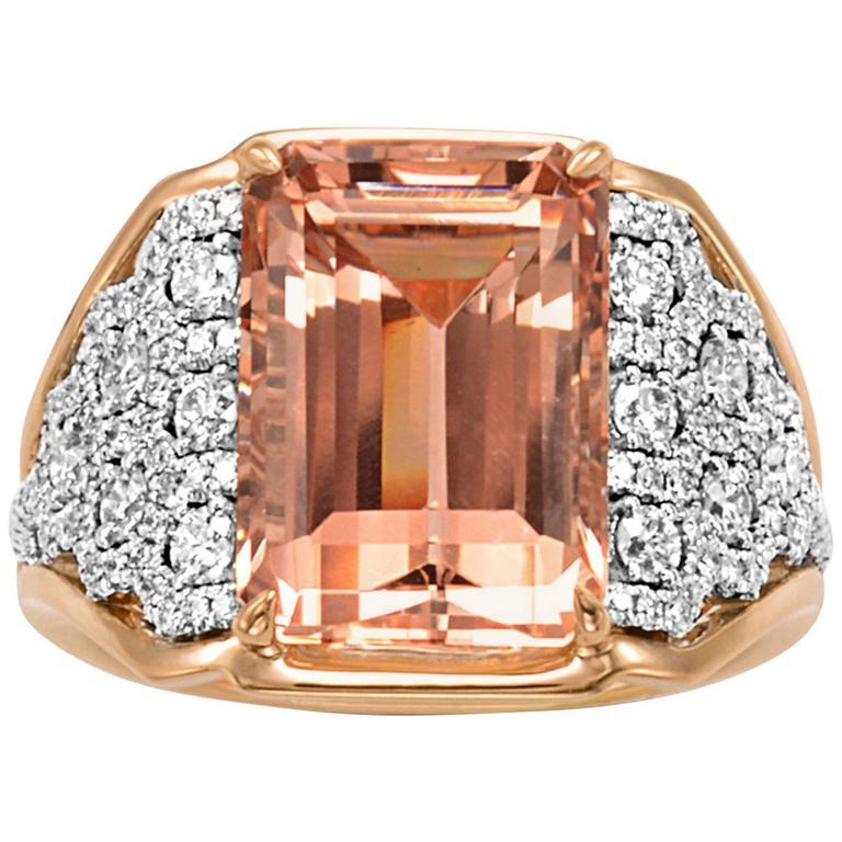 Frederic Sage 6.81 Carat Morganite Diamond Ring