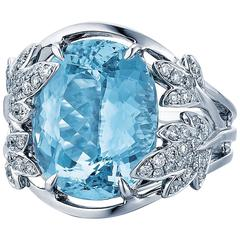 Frederic Sage 9.89 Carat Aquamarine Diamond White Gold Ring