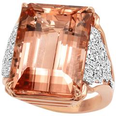 Frederic Sage 24.69 Carat Morganite Diamond Rose and White Gold Ring