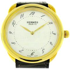 Hermes Yellow Gold Mother-of-Pearl Arseau Quartz Wristwatch