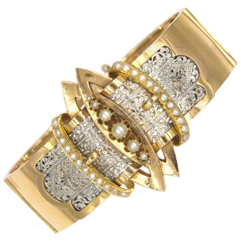 Victorian Wide Yellow Gold Seed Pearl Buckle Bangle Bracelet